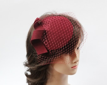 Burgundy Fascinator with Veil