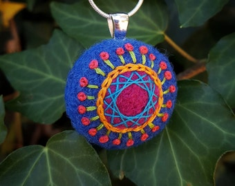 Whimsical Hand-Embroidered and Felted Pendant