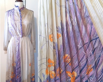 70s Japanese dress, disco graphic lilac and orange XS S