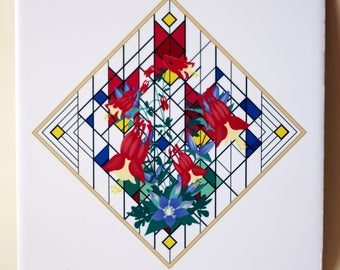 Ceramic tile, ONE Wildflower Impressions decorative wall tile | columbine and gentians floral tile, red, blue flowers 1488