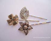 Vintage earrings hair pins - Silver pewter marcasite pyrite sparkly gem bow ribbon flower unique girl embellish decorative hair accessories