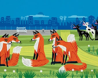 Foxes and Hounds - Nature / Wildlife - Childrens Art - Animal Art -  Kids Art - Limited Edition Art Poster Print by Oliver Lake