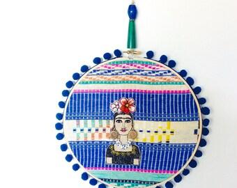 Frida Kahlo - textile art - wall art - ooak