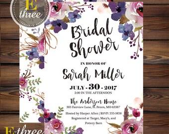 Purple Floral Bridal Shower Invitation - Plum, Lavender, Violet Floral Shower Invitations - Wedding Shower Invite