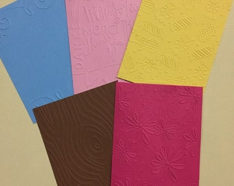 EMBOSSED CARDSTOCK 41/4 x 51/2 inches 5 pack Mixed Backgrounds 2