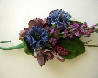 Vintage Silk Corsage Brooch Millinery Accent for Hat or Lapel - Purple Blue Lavender- Pin Back for Hair Clip Use
