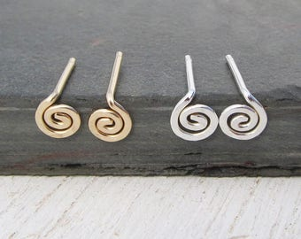 Spiral Stud Earrings / Choose Argentium Sterling Silver or Gold Filled / Stud Earrings / Silver Earrings / Swirl Studs / Post Earrings
