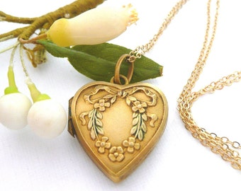 Vintage French Heart Locket Necklace