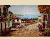 50% off Original Oil Painting large French Flower Village Balcony Shadows Sun Mediterranian Texture Sea Sky Handmade Bright Sunny ART by Mar