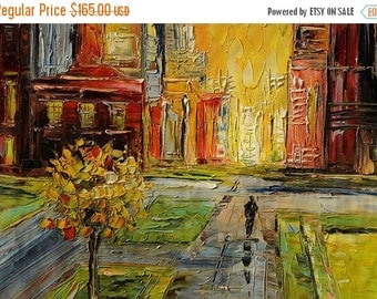 70%OFF Painting oil ORIGINAL Painting Impasto Palette Knife Textured painting canvas painitng Cityscape Buildings colorful sunset ART by Mar