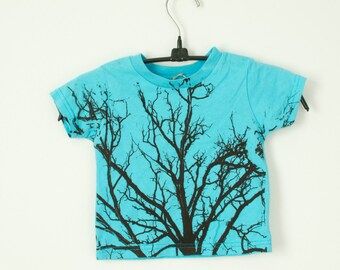 size 2, 3 and 4 kids tree t-shirt in turquoise