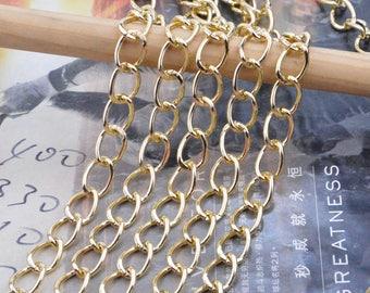 2m chain, metal gold chain, Aluminum chain, gold chain, Jewelry making chain, aluminum curb chain chunky, curb chain, gold necklace chain