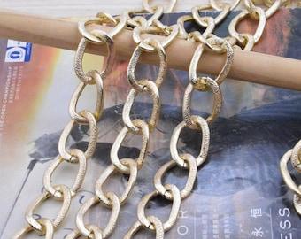 2m chain, Metal chain, Aluminum chain, light gold chain, Jewelry chain links, aluminum curb chain chunky, curb chain, gold necklace chain