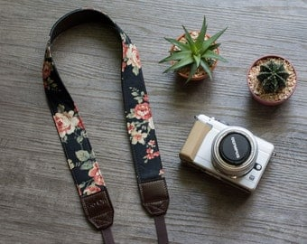 Black Floral Vintage Camera Strap for DSLR  , Mirror Less ,Compact
