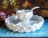 Westmoreland Relish Dish and Mayonnaise Bowl and Ladle / Vintage Milk Glass Serving Pieces / Westmoreland Paneled Grape