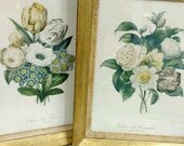 Vintage Framed Pair of Redoute Prints Choix de Camelia and Choix de Fleurs par Redoute Gold Frames with Soft Fabric Ready to Hang