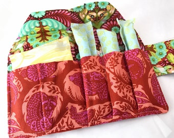 tampon amp maxi pad holder shark week zippered fabric purse