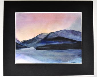 Scotish Landscape, Scotland -  Original Watercolor Painting, painted by C.Raven - 4x6inches MOUNTED to fit 8x10inches frame opening