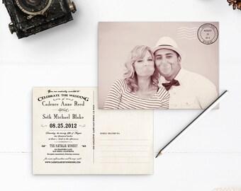 "Rustic Postcard Wedding Invitations, 5x7, Wedding invitations , the ""Cadence"""