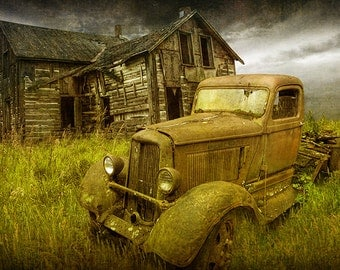 Abandoned, Dodge Truck, and Farm House, in the MidWest with Textured Overlay No.OL00232 A Fine Art, Automobile, Landscape, Photograph