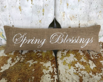 Spring Blessings Long Narrow Bench Throw Pillow / Burlap Accent Pillow / Spring Home Decor