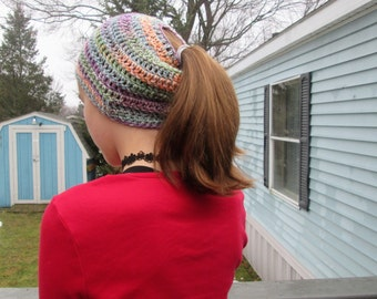 Ponytail/Bun hat, hand crocheted, multi-color