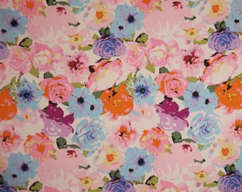 Lovely Pink and Blue Allover Floral Print Stretch Cotton Sateen Fabric--By the Yard