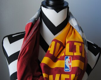 Cleveland Cavaliers Upcycled T-Shirt Infinity Scarf