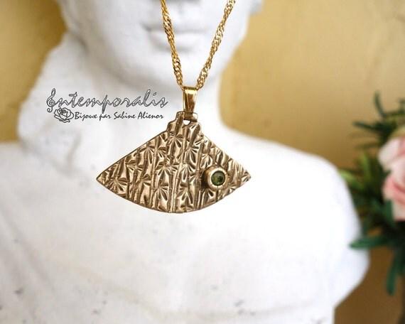 Bronze and green cubic zirconium pendant, OOAK, SAPE17