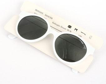 vintage white sunglasses - round sun glasses for men - original 1980s eyewear - great gift for him - la gear private dancer
