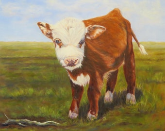Calf cow cattle animal art  Hereford cow Giclee CANVAS PRINT of original oil painting by Sandra Cutrer Fine Art