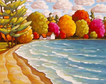"Art Print by Cathy Horvath 5""x7"" Cottage Lodge Beach Trees, Folk Landscape Summer Lake Water Giclee, Archival Artwork Seascape Reproduction"