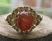 Vintage Sterling Silver Women's Ladies Ring Size 9 Ring with Orange Carnelian and Citrine Gemstones  Cocktail Ring