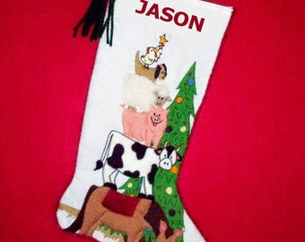 Right Facing Vintage Style Christmas Stocking Crewel Embroidery Kit - Farm Animals Mantel Decoration