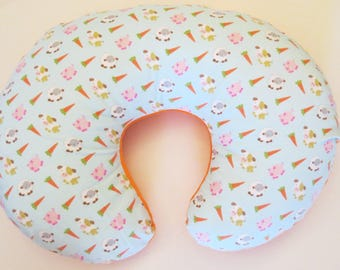 Reversible Boppy Nursing Pillow Cover:  Farm Patch Animals and Carrots on Orange