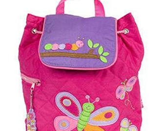 Personalized Monogrammed --New Pattern- Stephen Joseph Kid Quilted Pink Butterfly Catepillar Backpack--Free Monogramming--Fast Turnaround