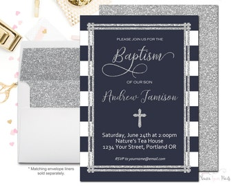 Navy and Silver Baptism Invitation, Baptism Invitation Boy, Boys Christening Invitation, Boys Baptism Invite, Silver Glitter, Blessing