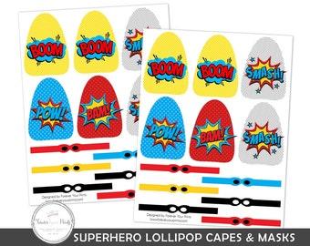 Superhero Lollipop Party Favor, Lollipop Capes and Masks, Superhero Party Favors, Superhero Birthday Party, Boys Superhero Party, Printable