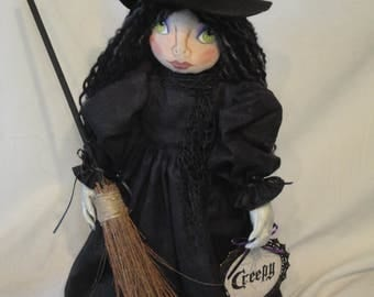 Witch Art Doll, Halloween witch cloth art doll, creepy, spooky, Halloween witch art doll, collectible Halloween witch doll, hand made witch