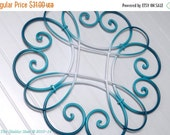 Choice Color / Wall Medallion /Seabreeze / Teal / White / Wrought Iron Wall Hanging /Scrolled Iron Decor