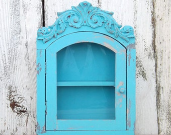 Rustic Turquoise~French Cottage~Shabby Chic Wood Cabinet with Shelf~ Bathroom Shelf~Shabby Chic~Rustic Cabinet