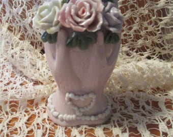 Vintage Lefton TWO HANDS w/HEART Pink Vase with Applied Flowers