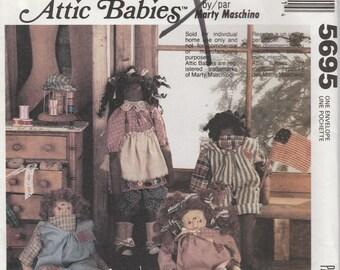 """Doll Pattern Shelf Sitters Attic Babies 17"""" Doll Uncut McCalls 5695"""