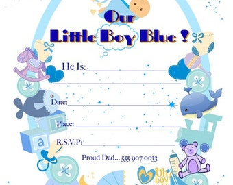 "Baby Cards""Little Boy Blue"" Custom Invitations,BabyBoyAnnouncements,OnlineCards,JustBecause,OurBoyAnnouncements,100% CUSTOMIZABLE: 5""X7"""