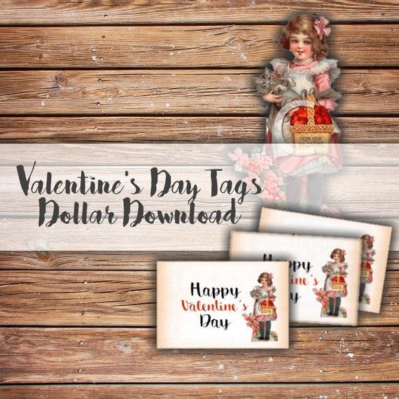 Happy Valentine's Day Tags PDF Printable Download, Digital, DIY, Labels, Valentine, Vintage, Tag, Labels, Treat Bags, Favor Bag, Holiday