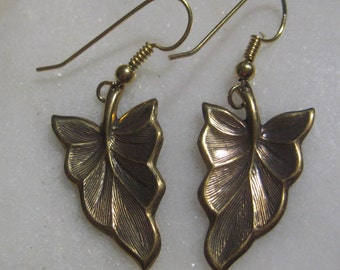 Vintage Leaf Earrings; Vintage 1980's Detailed Stamped Brass, Pierced Wire Hook, Old Stock, Unused, 35mm, One Pair