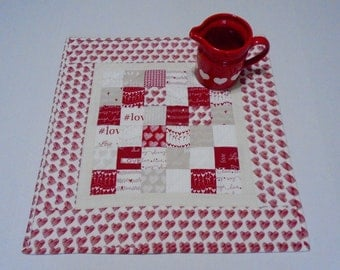 Valentine Quilted Table Topper, Valentine Quilted Table Runner, Valentines Day Decor, Hashtag Love Runner, Modern Valentine Table Quilt