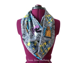 Dr. Who Cartoon Infinity Scarf (2 sizes - child or adult) circle scarf, doctor who, dalek, comic con, geeky toddler outfit, dr who fandom