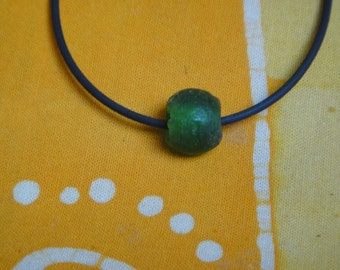 Luminous Emerald Green Recycled African Glass Krobo Bead Necklace Gift for Him or Her Choker