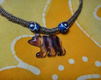 Carved Rainbow Fluorite Bear African Bead Hemp Necklace